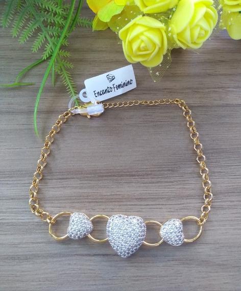 Pulseira Coração Cravejada Banhado Ouro + Caixa De Presente