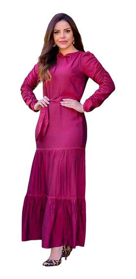 Vestido Feminino Longo Evangélico Rodado Babados Joyaly Moda