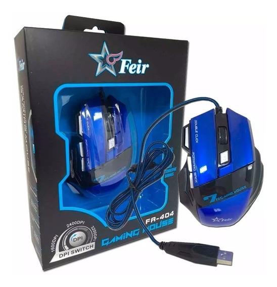 Mouse Gamer Com Led Óptico 7 Botões Usb Original Feir Azul