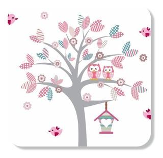 Árvore Adesivo Patchwork Rosa Parede Corujas Quarto Menina