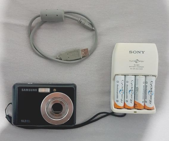 Câmera Samsung 10.2 Mp + Cartão 8gb + Carregador De Pilhas