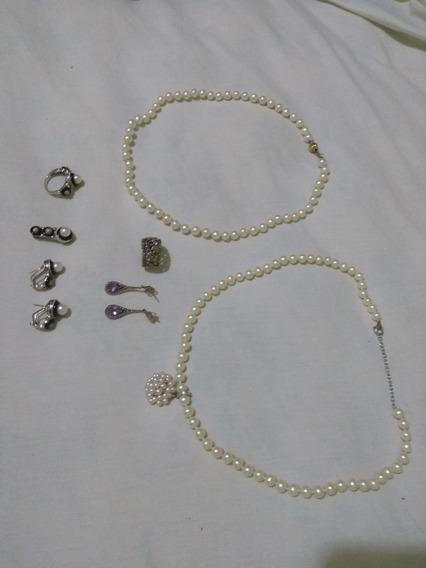 Colares De Pérolas Com Fecho Em Ouro E Brincos Em Prata 925