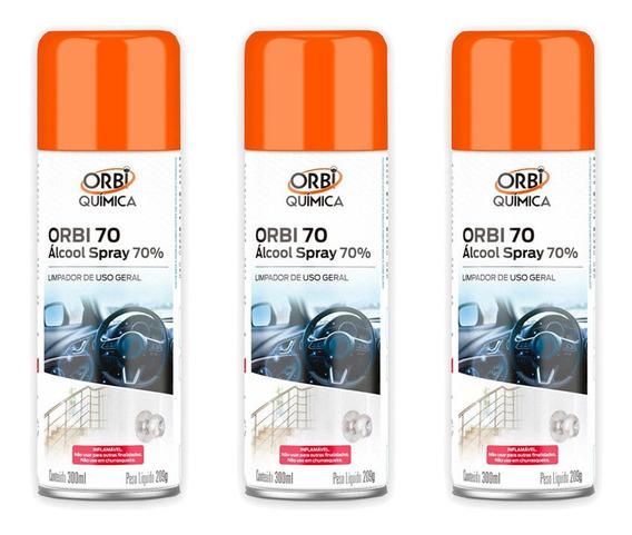 Kit 3 Alcool 70% Spray Antisséptico Certificado Anvisa 300ml