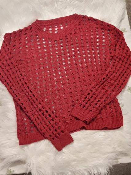 Sweater Tejido De Hilo Rojo