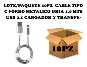 10pz Cable Tipoc Forro Metálico 1m Usb 2.1 Carga/datos/plata