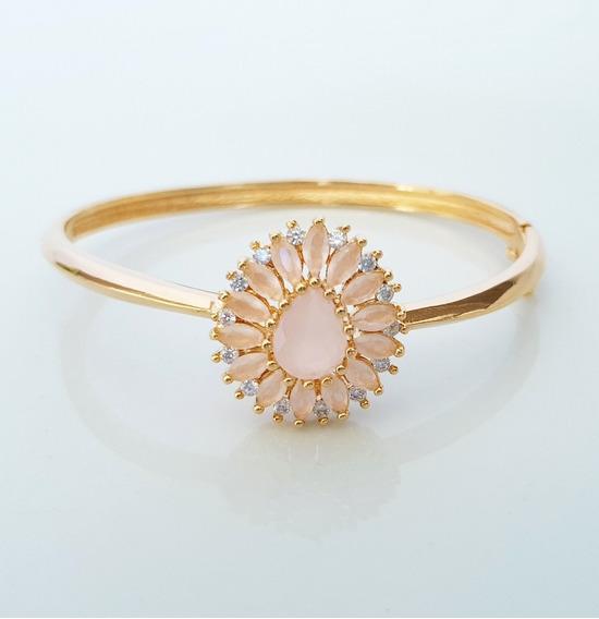 Bracelete Feminino Pedras Navete Rosa Leitoso Banho Ouro18k