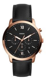 Reloj Caballero Fossil Fs5381 Color Negro De Piel