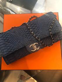 Bolsa Chanel Em Píton Azul Original Com Selo E Cartao