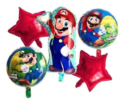 Bouquet De 5 Globos Super Mario Bros - Entrega Inmediata !