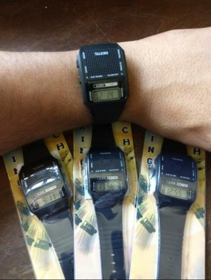 Relógio De Pulso Preto Que Desperta E Fala A Hora