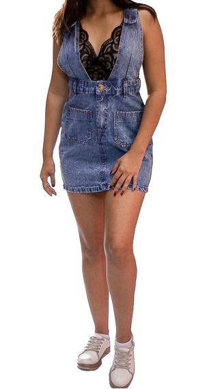 Saia Jeans Jardineira Salopete Cintura Alta 100% Jeans