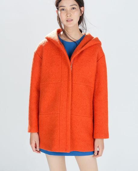 Tapado De Paño Naranja/ Zara /talle M