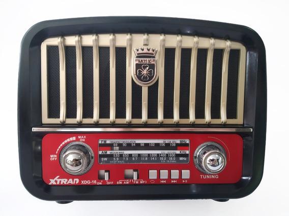 Caixa Som Retro Bluetooth Radio Am Fm Usb Sd Recarregavel