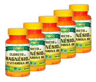 Kit 5x Cloreto De Magnésio Pa + B6 120 Cápsulas Unilife