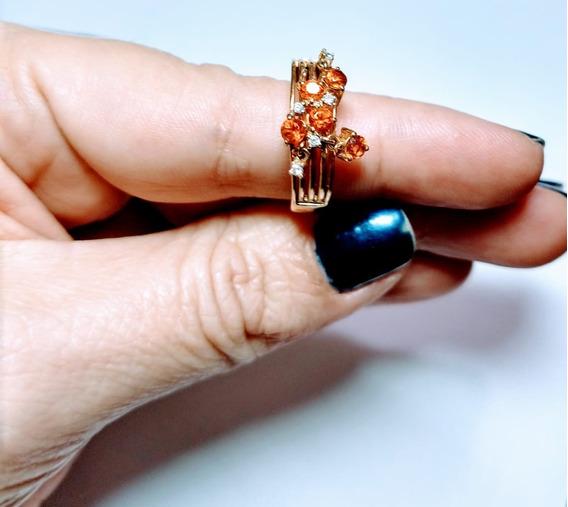 Anel Em Ouro Diamantes E Citrino