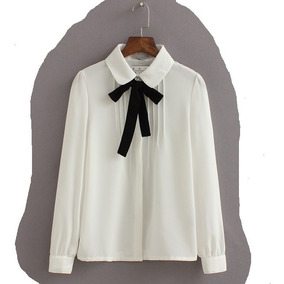 Blusa Social Feminina Camisa Colegial Moda De Gravatinha