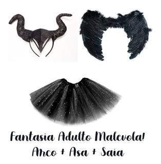 Fantasia Malevola Preto Adulto Asa, Arco E Saia
