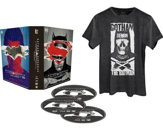 Blu-ray 3d 2d Batman Vs Superman + Camiseta 3 Discos Lacrado