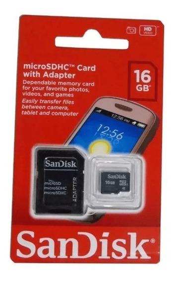 Cartão De Memória 16gb Micro Sd + Adaptador Original