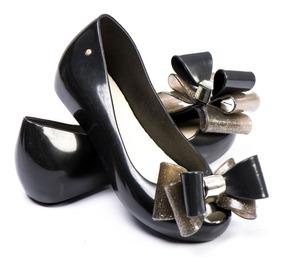 Sapato Sapatilha Feminina Tipo Melissa Adulto Preta