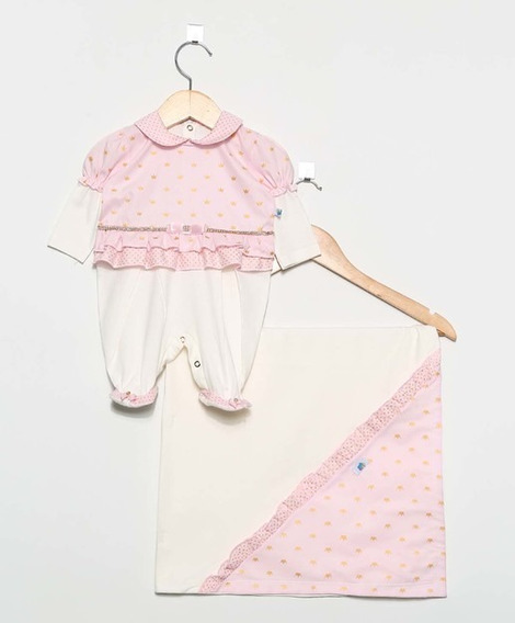 Saída Maternidade Para Bebê Menina Princesa Rosa