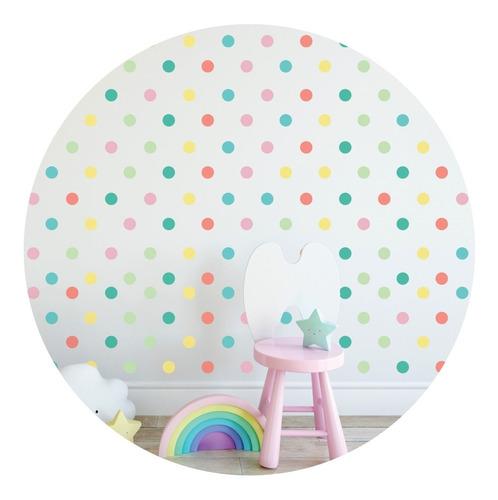 Imagem 1 de 3 de Adesivo Infantil Bolinhas Coloridas 420un