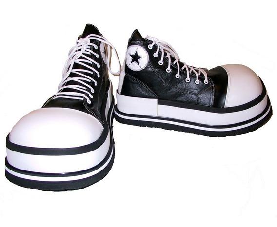Zapatos De Payaso Profesional Negro Con Blanco