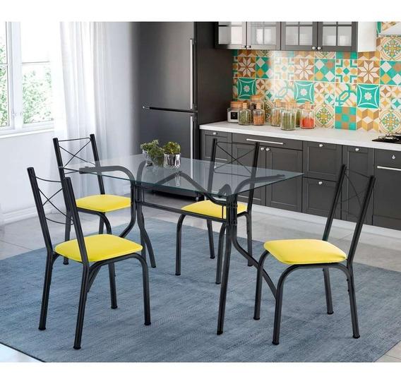 Conjunto De Mesa De Cozinha Com 4 Cadeiras Léticia Couro ...