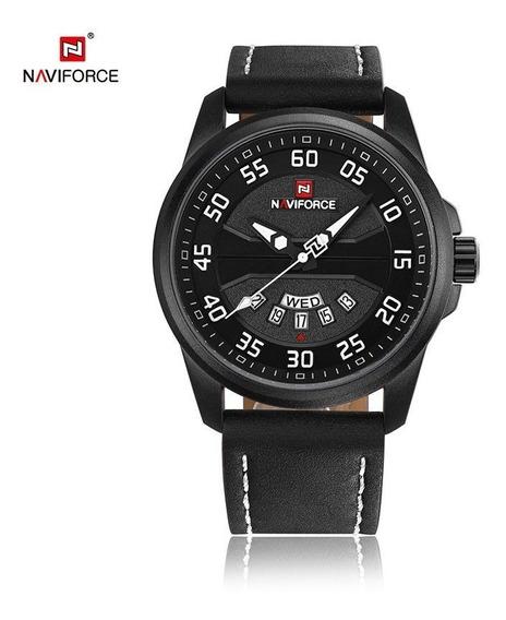 Relógio Masculino Inox Pulseira Couro 30m - Preto E Branco