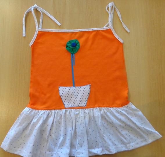 Vestido Solera Para Niña - Con Aplique De Una Flor Verde