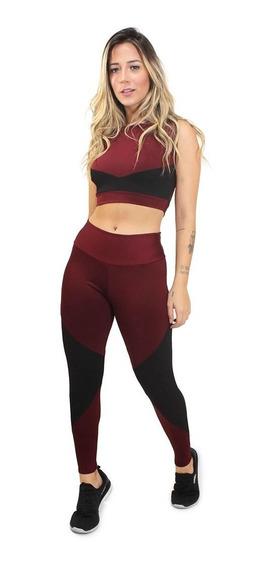 Conjunto Feminino Calça Cropped Moda Fitness Academia 2020