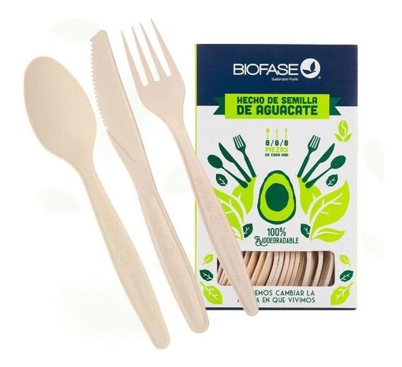 Cubiertos Biodegradables Biofase Caja Con 24 Piezas Mixtas