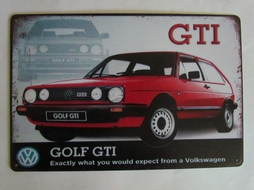Línea de metal telescopio rodillo  Poster Anuncio Cartel Placa Decoracion Gti Volkswagen Golf | Mercado Libre