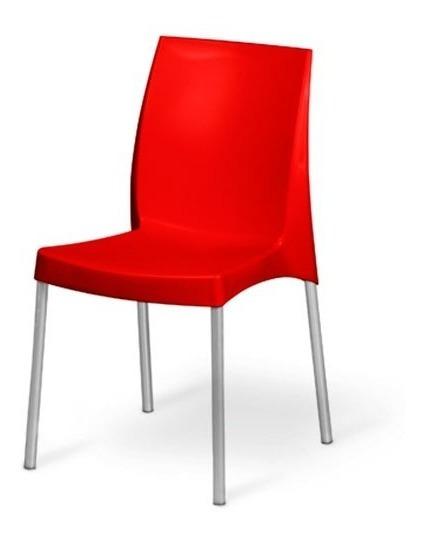 Cadeira Plástico Várias Cores Empilhável Vermelha - Jasmim