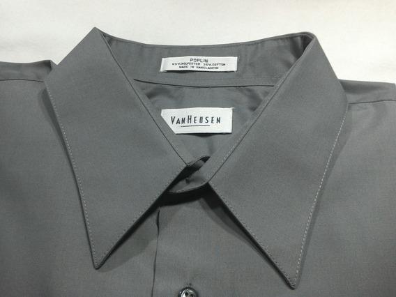 Preciosa Camisa De Poplin Importada De Usa, Color Gris Oscur