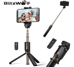 Pau De Selfie Com Tripé Disparador Bluetooth Blitz Wolf 3em1