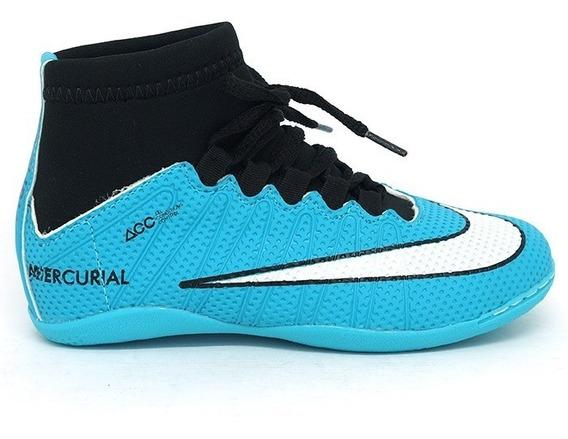 Chuteira Infantil Nike Cano Alto Futsal Azul Botinha Barato