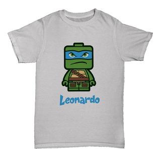 Playera Niño/niña Tortuga Ninja Lego Leonardo Personalizado