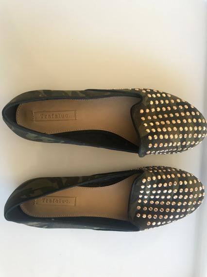 Zapatos Chatitas Zara Camuflado - Talle 38 - Nuevas