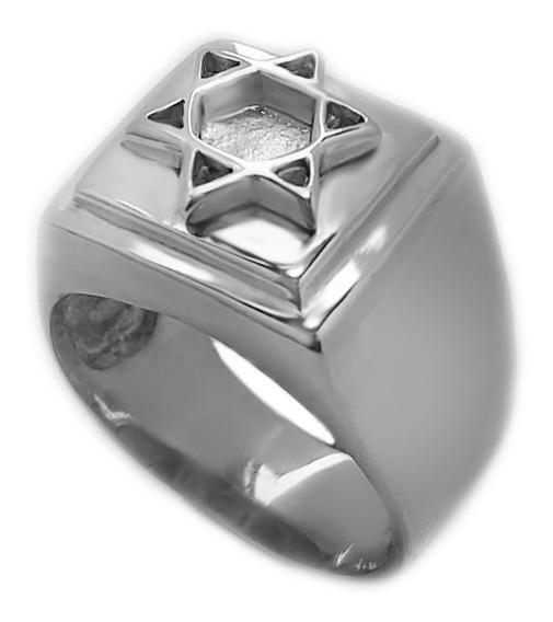 Anel Estrela De Davi Selo Salomão Hexagrama Prata Maciça 950