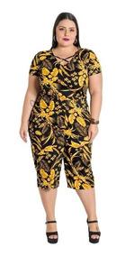 Macacão Feminino Cropped Folhagem Plus Size Nova Coleção