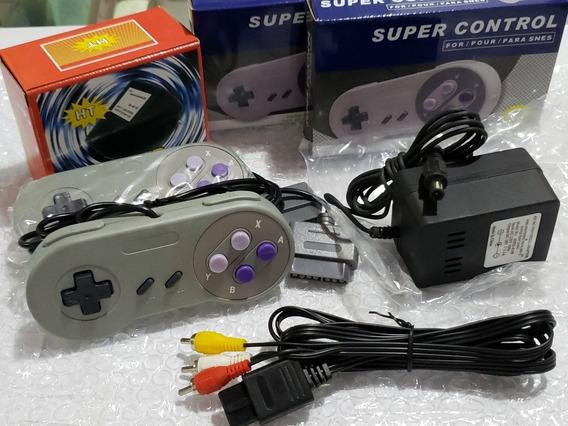 Kit 2 Controles + 1 Cabo Av + 1 Fonte 220volt Super Nintendo