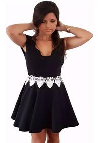 19cce776b131 Vestido Feminino Curto Decote Nuvem E Detalhes Rendas - Calçados ...