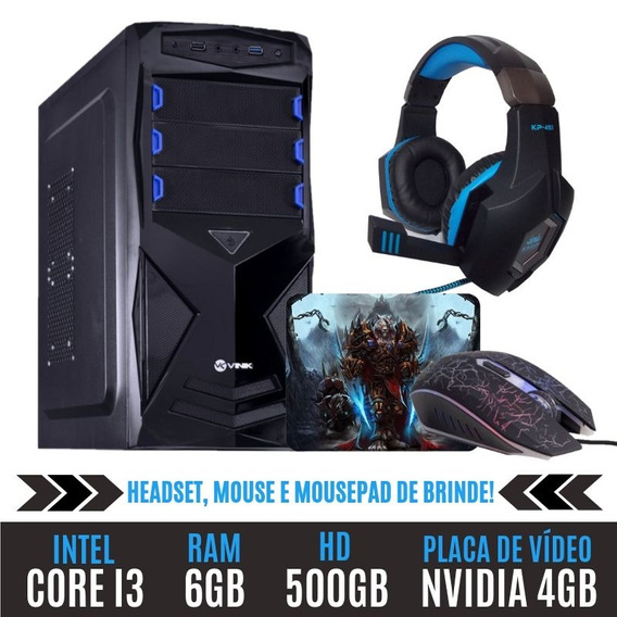Pc Gamer Core I3 Ram 6gb Hd 500gb 4gb Ótimo Desempenho