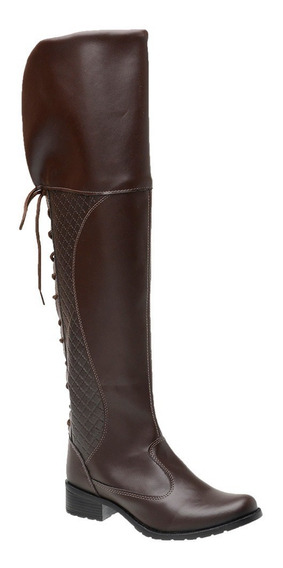 Bota Coturno Feminino Over The Knee Cano Longo 281
