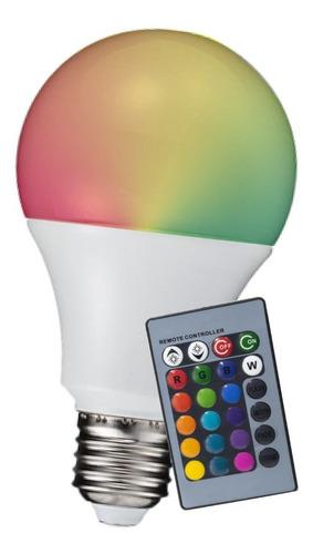 Lampara Led Rgbw 7w E27 220v Control Remoto 16 Colores
