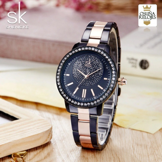 Relógio Shengke Feminino Dourado Rose Original