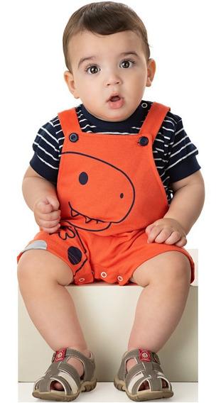 Roupa Bebê Menino Conjunto Camiseta E Jardineira Curto Verão