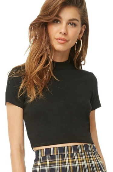 Crop Top Mujer Media Polera Manga Corta Top Corto Dama Moda