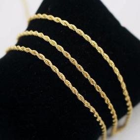 Corrente Cordão Trançado Baiano Aço Inox 4mm Dourado